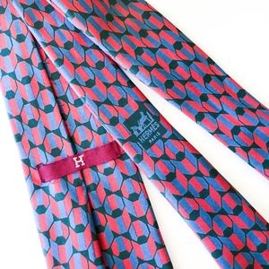 VTG Mens Hermes Authentic Luxury Geometric Red Tie